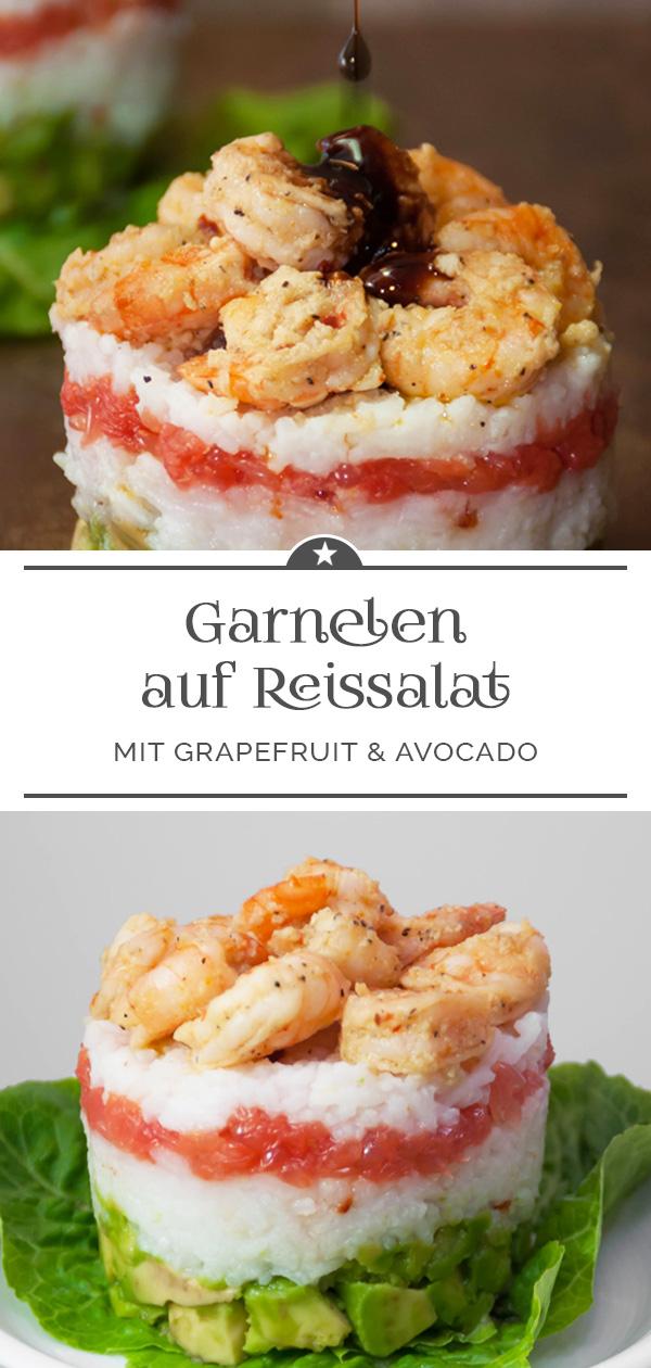 Garnelen auf Reissalat mit Grapefruit und Avocado
