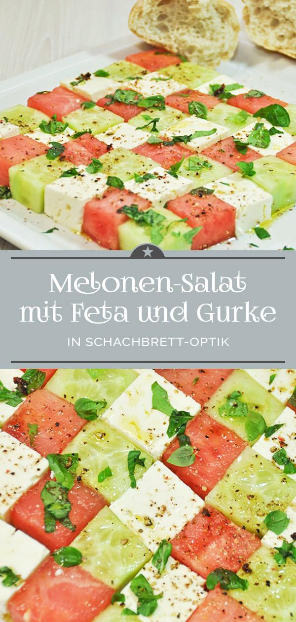 Melonensalat mit Feta und Gurke