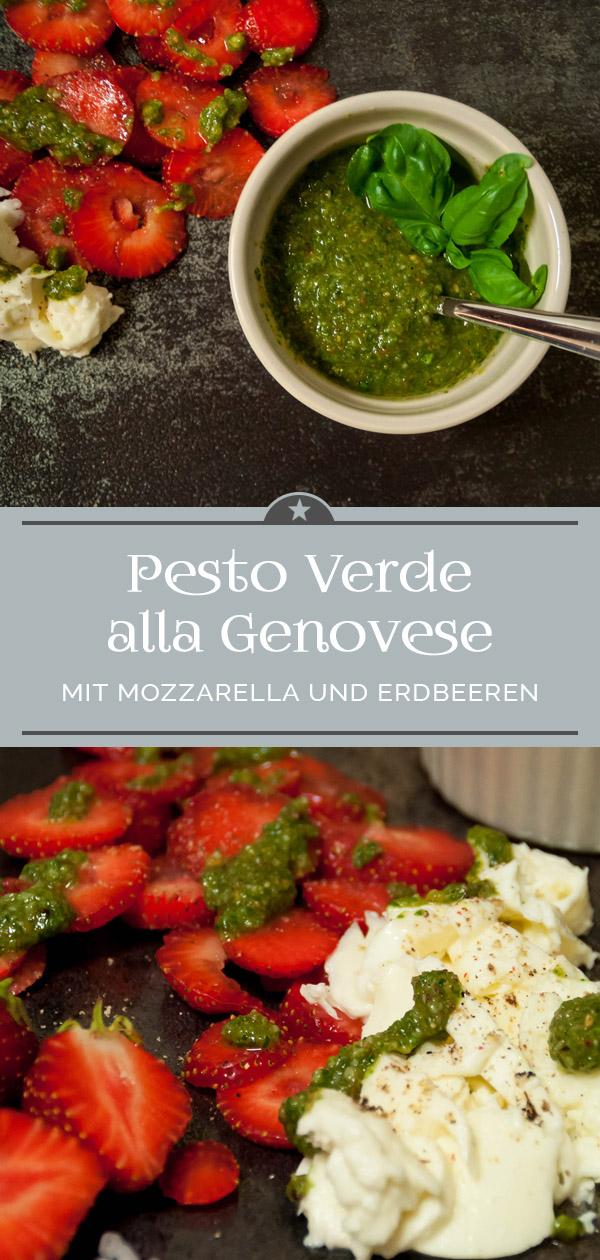 Pesto Verde alla Genovese mit Mozzarella und Erdbeeren