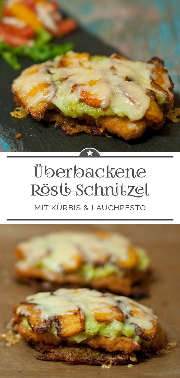 Überbackene Rösti-Schnitzel mit Kürbis und Lauchpesto