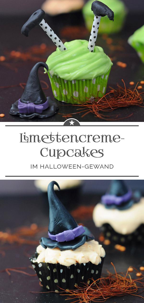 Limettencreme-Cupcakes im Halloween-Gewand