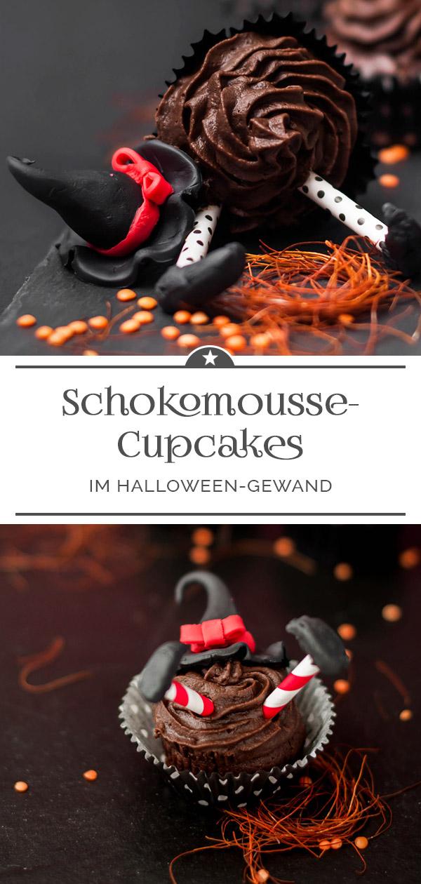 Schokomousse-Cupcakes im Halloween-Gewand