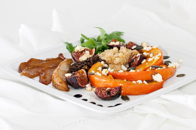salat variation aus k rbis feigen feta linsen birnen und honig eine kleine prise anna. Black Bedroom Furniture Sets. Home Design Ideas