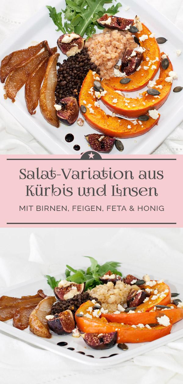 Salat-Variation aus Kürbis und Linsen mit Birne, Feige und Feta