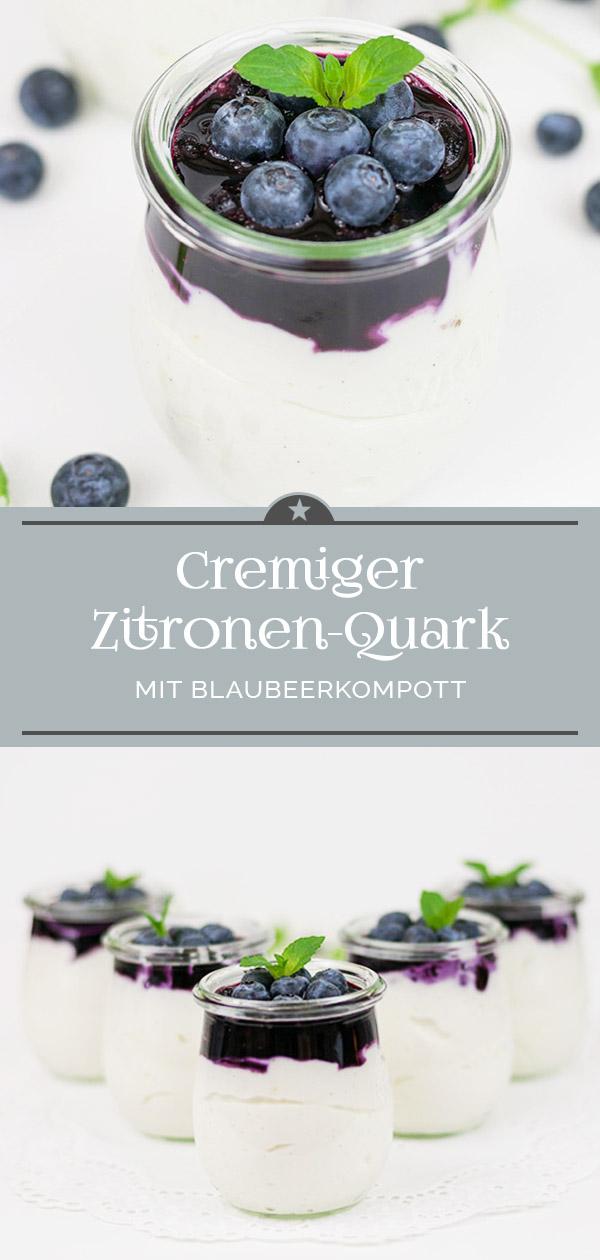 Cremiger Zitronenquark mit Blaubeerkompott