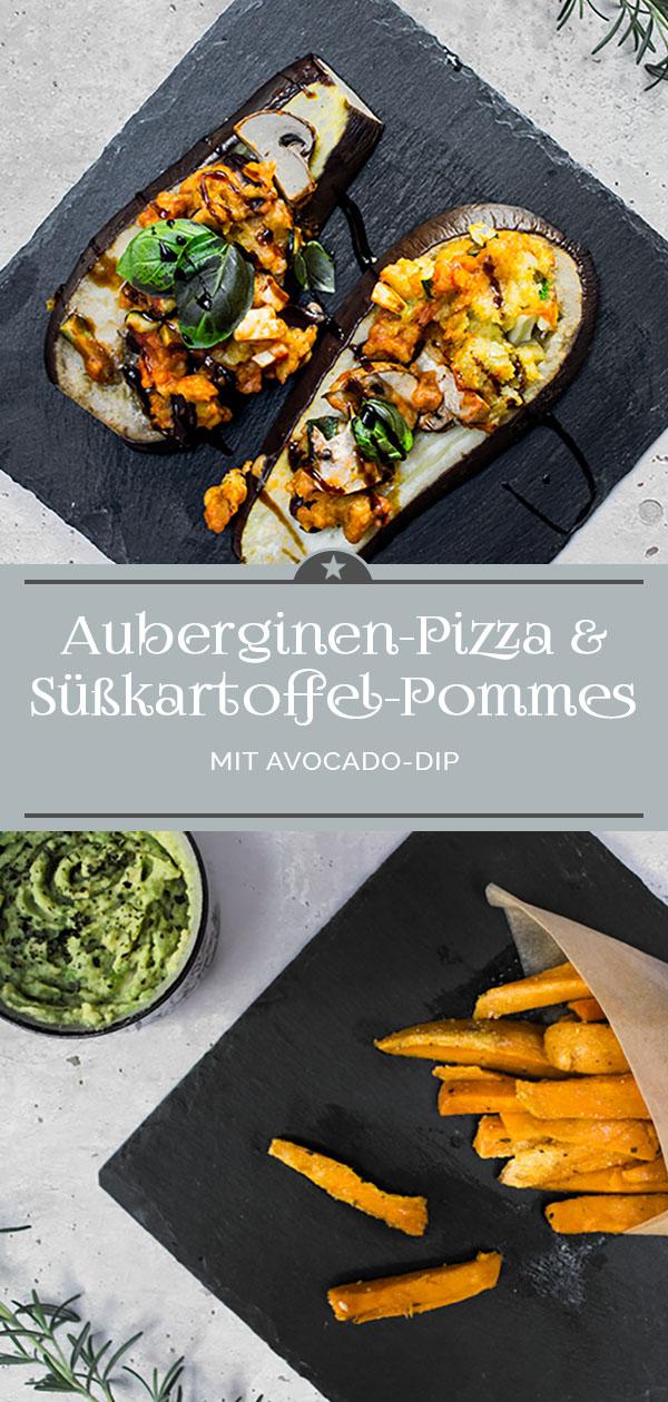 Auberginen-Pizza und Süßkartoffel-Pommes mit Avocado-Dip