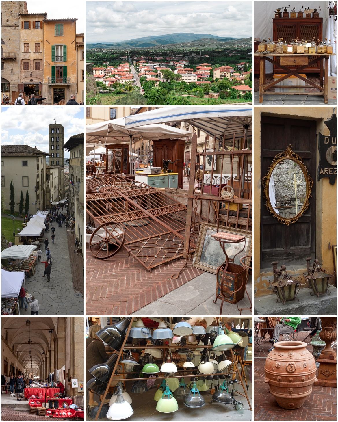 Collage vom Antikmarkt in Arezzo
