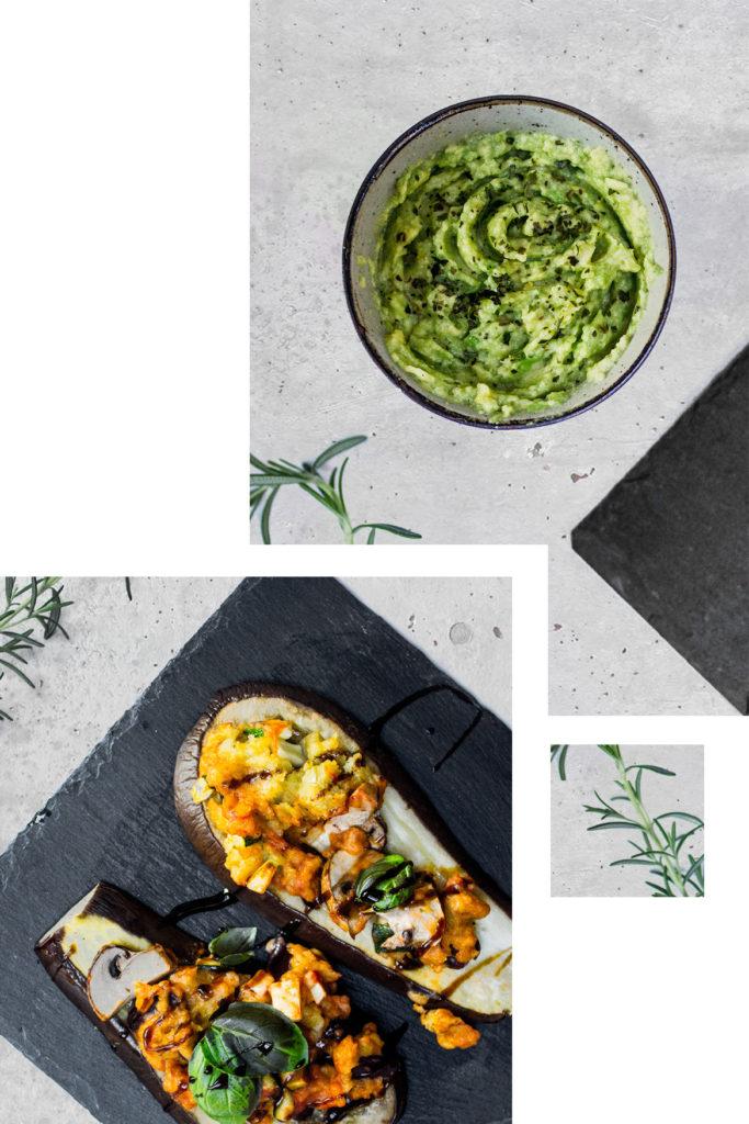 Auberginenpizza und Avocadomus