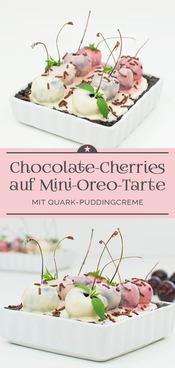 Chocolate-Cherries auf Mini-Oreo-Tarte