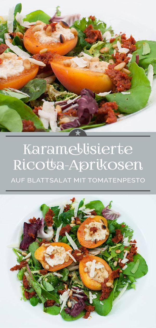 Karamellisierte Ricotta-Aprikosen mit Tomatenpesto