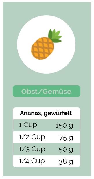 Umrechnung Obst und Gemüse - Ananas, gewürfelt