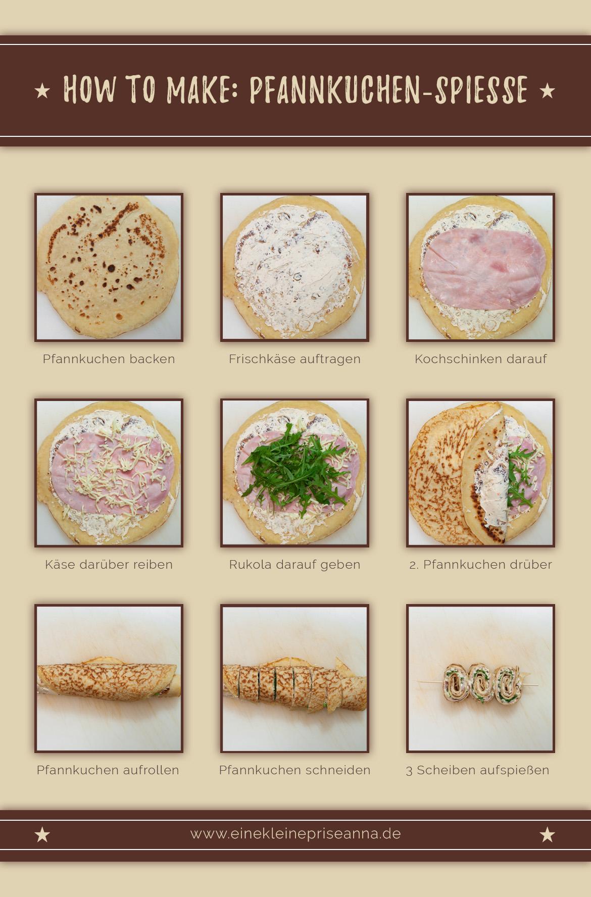 Wie mache ich Pfannkuchen-Spieße