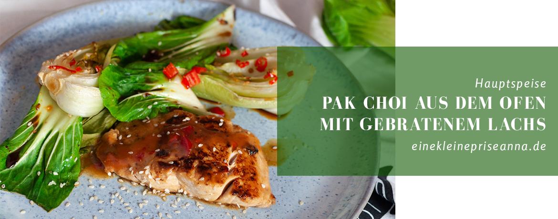Pak Choi aus dem Ofen mit gebratenem Lachs