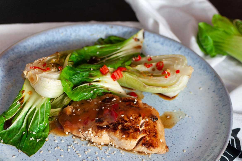 "Pak Choi aus dem Ofen mit Lachs ""Asia-Style"""