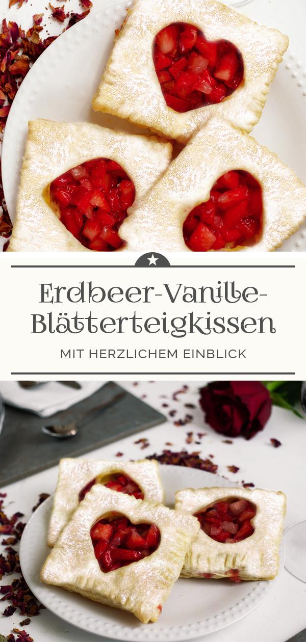 Erdbeer-Vanille-Blätterteigkissen