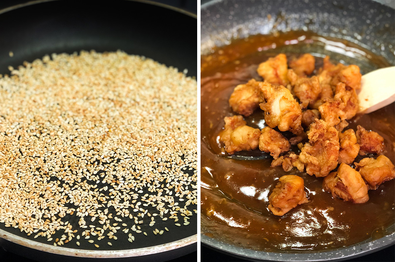 gerösteter Sesam und frittierte Hähnchenwürfel