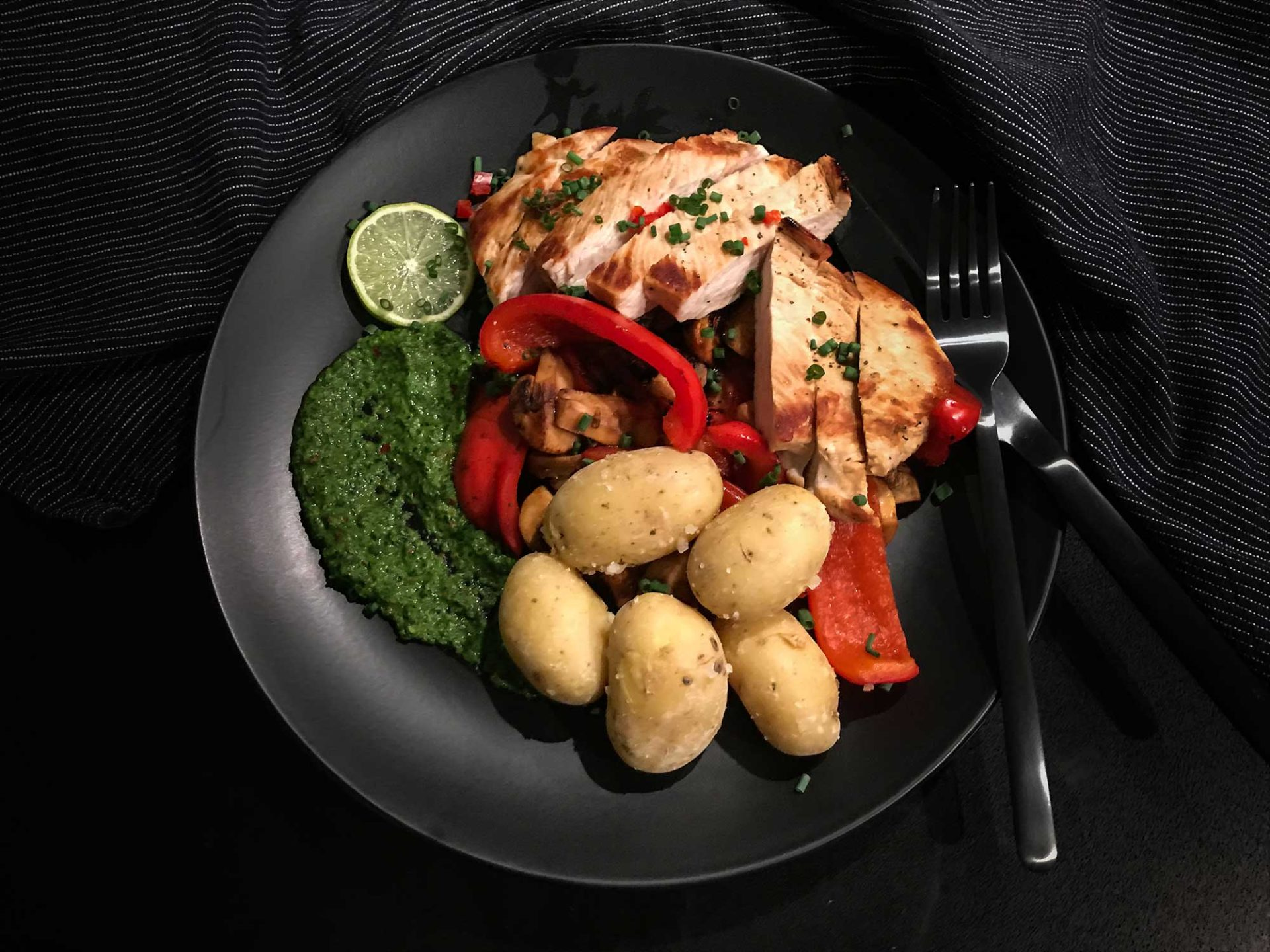 Kanarischer Teller mit Putenbrust, kanarischen Kartoffeln und Mojo verde