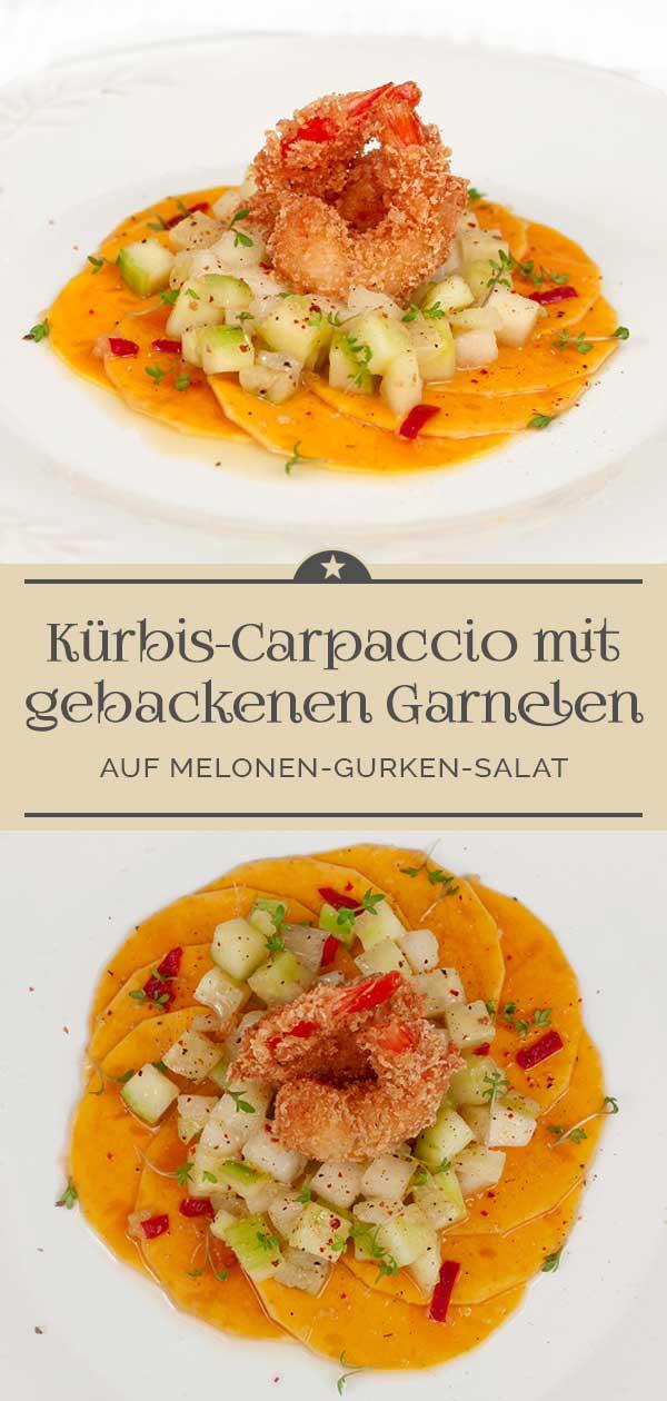 Kuerbis-Carpaccio-mit-gebackenen-Riesengarnelen