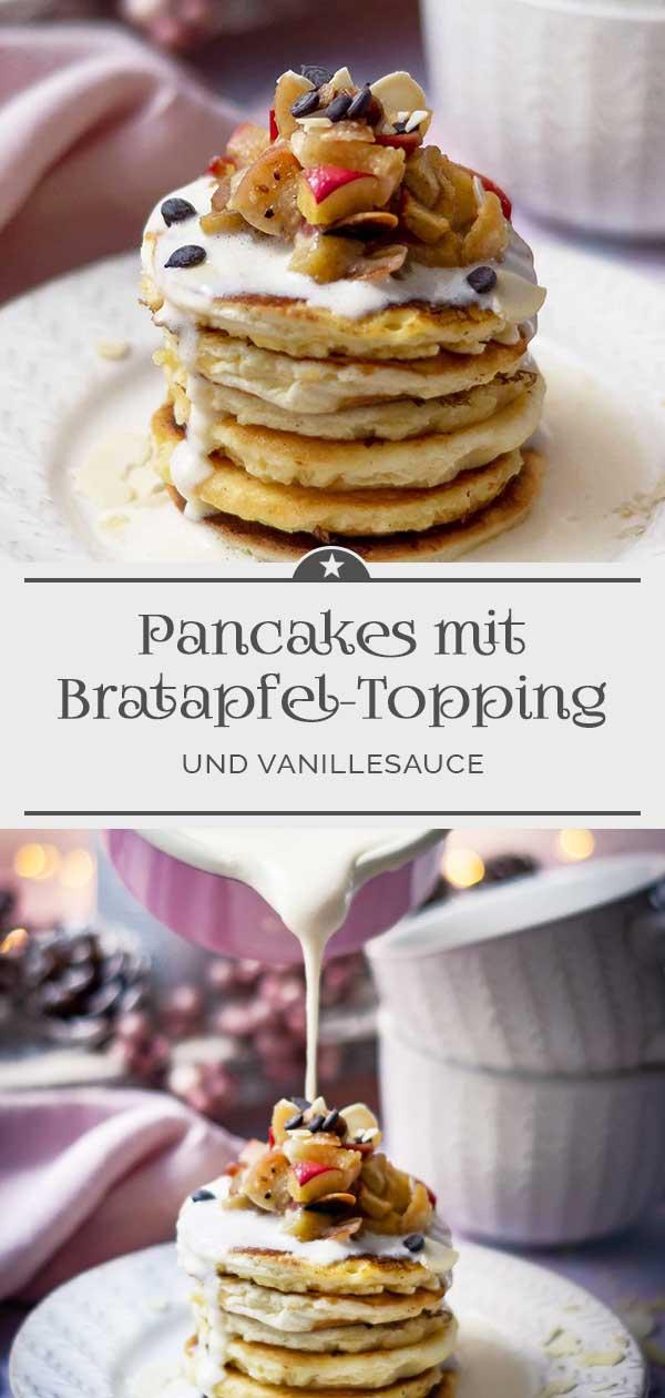 Pancakes-mit-Bratapfel-Topping