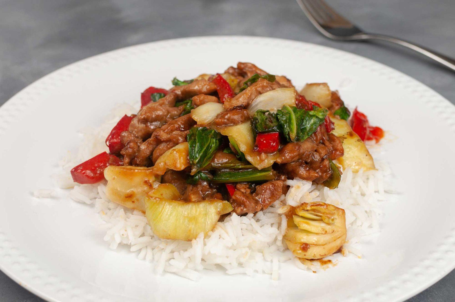 Pfannengericht - Schweinefilet mit Pak Choi und Hoisin-Sauce