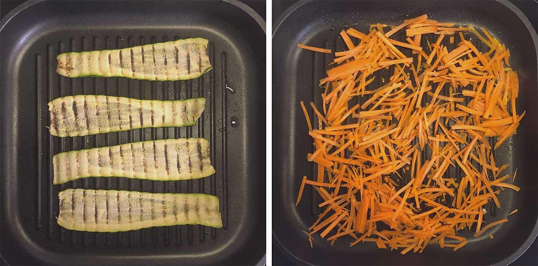 Zucchini und Möhren angebraten