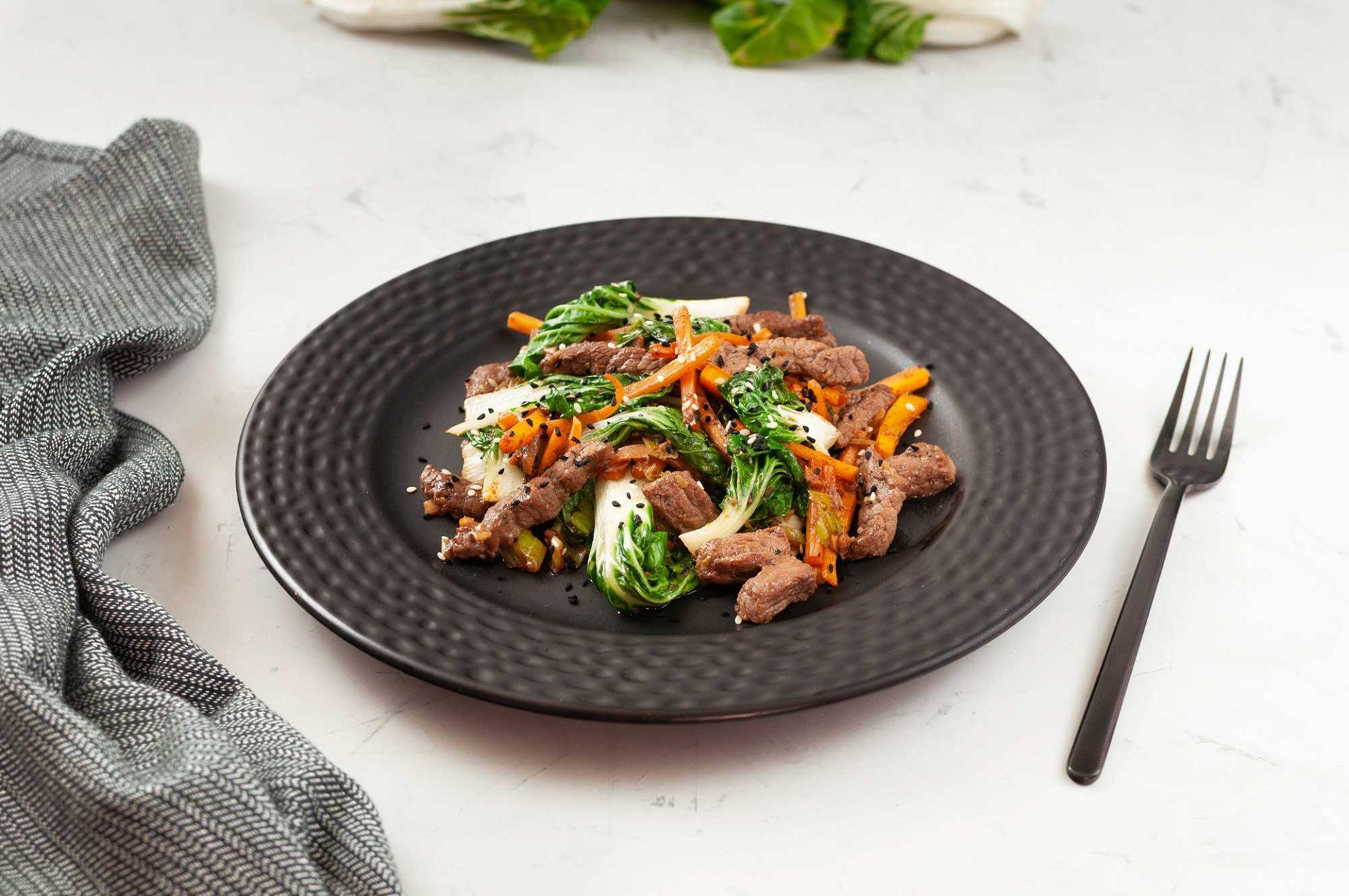 Pak Choi mit mariniertem Rindfleisch