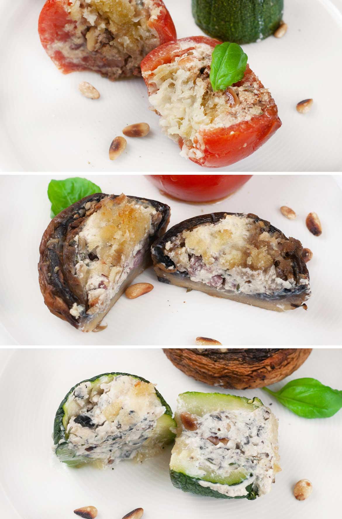 Gratiniertes-Gemuese aus Zucchini, Tomaten und Champignons