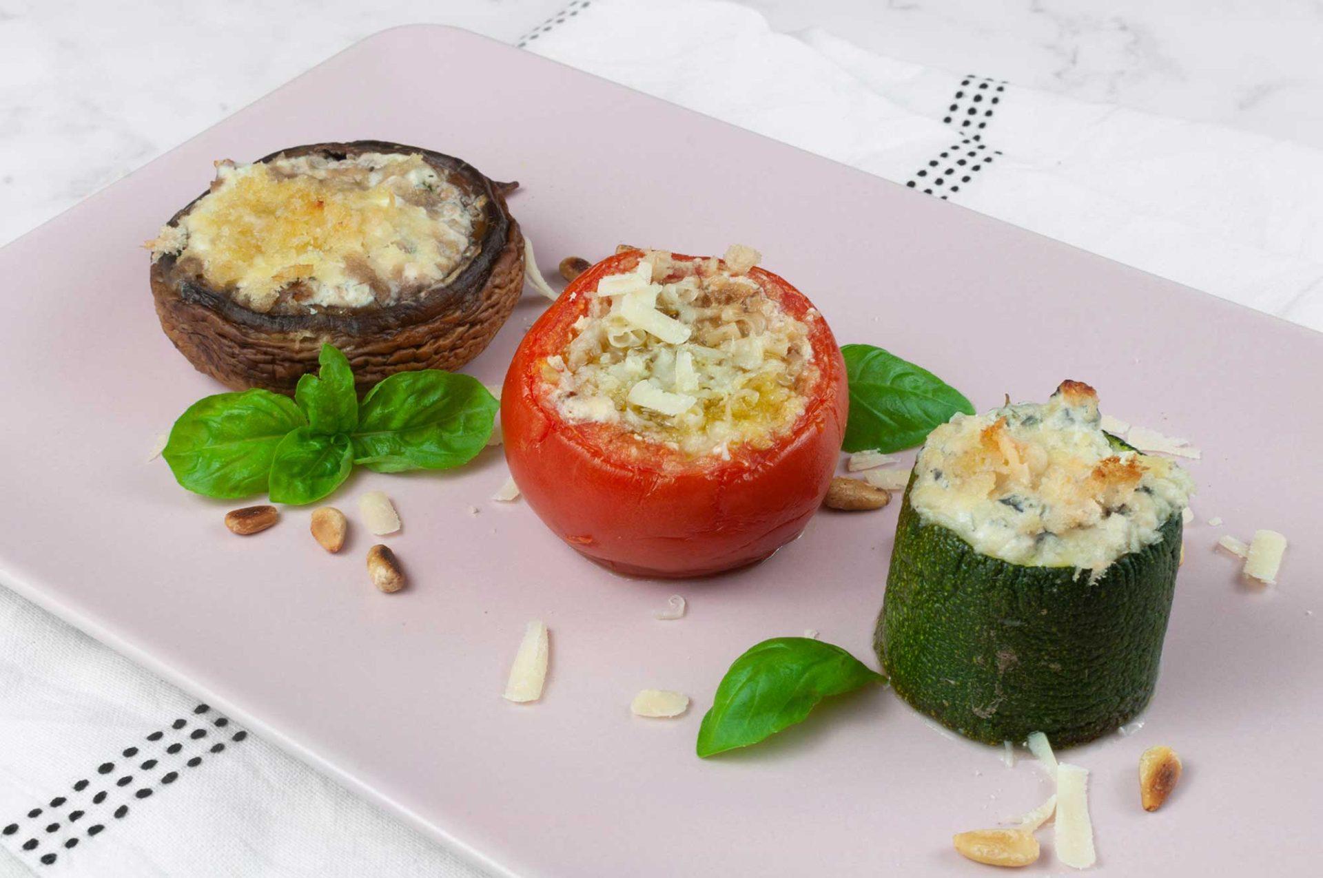 Gratiniertes Gemüse - Tomaten, Champignons, Zucchini