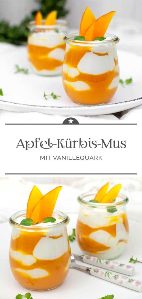 Apfel-Kuerbis-Mus mit Vanillequark